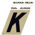 "Hillman 金属製接着式英字「K」ブラック 6枚セット (840514) / 1.5"" BLK/GLD K ADHV 1PC"