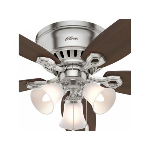 """Hunter Fan Builder Low Profile  シーリングファン 52インチ ブラッシュニッケル (53328) / FAN BLDR LW PRFLE52""""BNKL"""