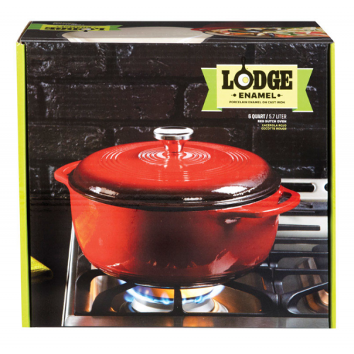 Lodge 鋳鉄製ダッチオーブン レッド (EC6D43) / RED DUTCH OVEN 6QT