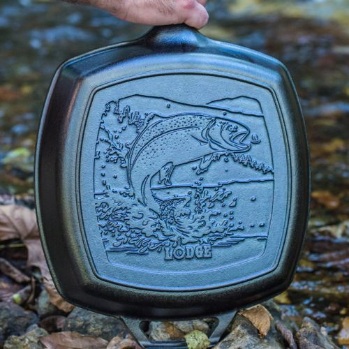 "Lodge Wildlife Series-Rainbow Trout 鋳鉄製グリルパン (L8SGPWLFI) / GRILL PAN RNBW TRT 10.5"""
