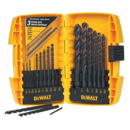 DeWalt ハイスピードスティール製ドリルビット20点セット (DW1177) / DRILL BIT 20PC BLK OXIDE