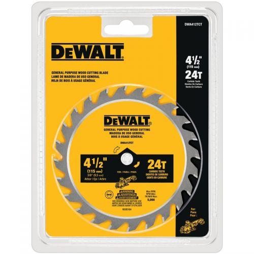 """DeWalt 丸鋸用ブレード (DWA412TCT) / DW SAWBLD 4-1/2""""X3/8""""24T"""