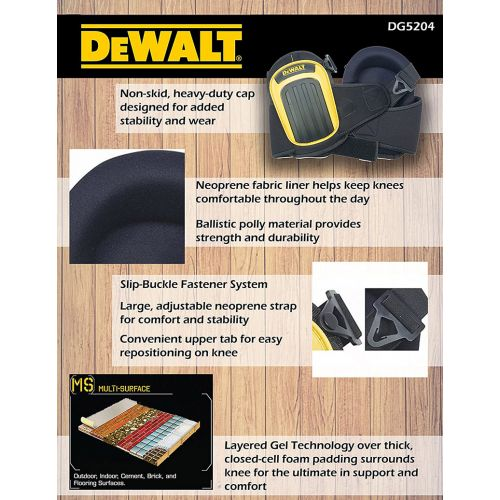 DeWalt ジェル&ポリウレタン式プロ仕様ニーパッド (DG5204) / KNEEPADS W/GEL PRO