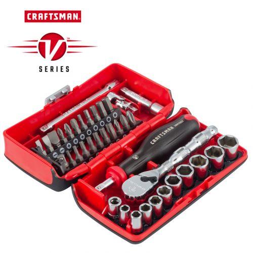 """Craftsman V-Series ソケット&ツール38点セット (CMMT45751V) / SCKT TL SET MM 1/4""""38PC"""
