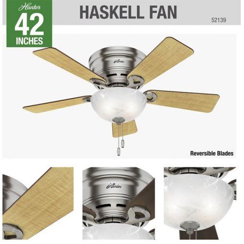 "Hunter Haskell LED式シーリングファン ブラッシュニッケル 42インチ (52139) / CEILING FAN BRU NCKL 42"""
