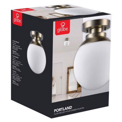 "Globe Electric Portland シーリングライト ブラス仕上げ (65792) / CEILNG LGHT BRS 60W 8""L"