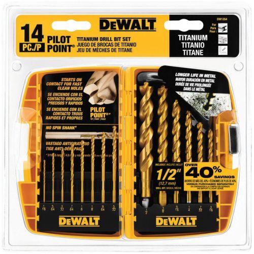 DeWalt Pilot Point チタニウム製ドリルビット14点セット (DW1354) / DRILL BIT 14PC TITANIUM