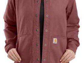 Carhartt リラックスフィットキャンバス製スナップフロントリブカラーシャツジャケット レディース