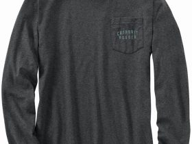 Carhartt オリジナルフィット厚地長袖ポケット付グラフィックTシャツ