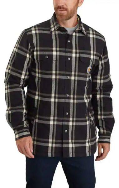 Carhartt リラックスフィットフランネルシェプラ裏地付スナップフロントチェック柄シャツジャケット