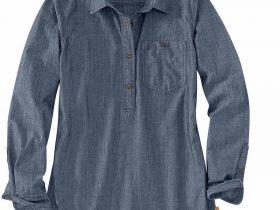 Carhartt Rugged Flexリラックスフィット長袖シャツ/レディース/インディゴシャンブレー Style #104287