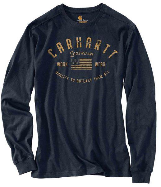 Carhartt リラックスフィット中厚長袖レジェンドリーグラフィックTシャツ/ネイビー