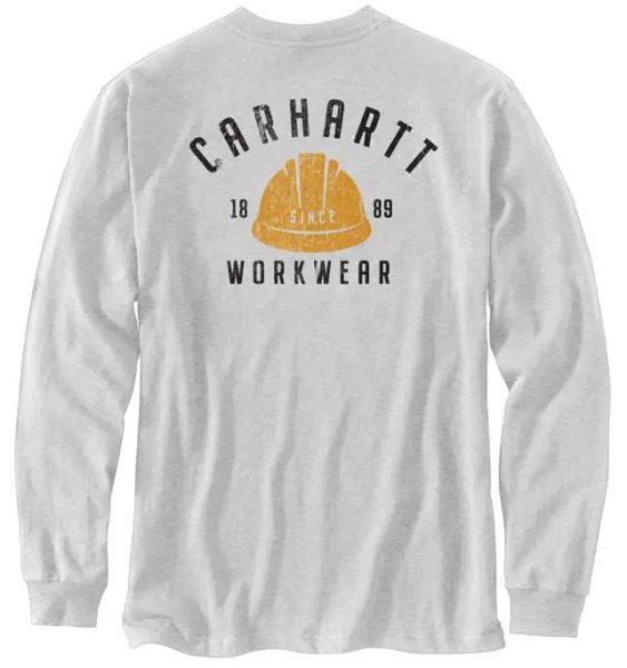 Carhartt リラックスフィット厚地長袖ヘルメットグラフィックTシャツ/ヘザーグレー Style # 104535