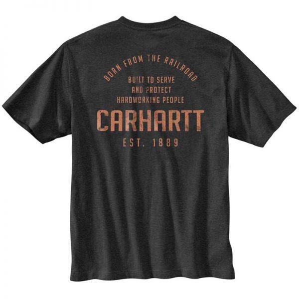 Carhartt ルーズフィットポケット付レイルロードグラフィック付厚地半袖Tシャツ/カーボンヘザー Style # 104608