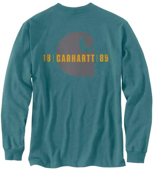Carhartt ルーズフィットトレードマークグラフィック付厚地長袖ポケットTシャツ/ Style # 105055