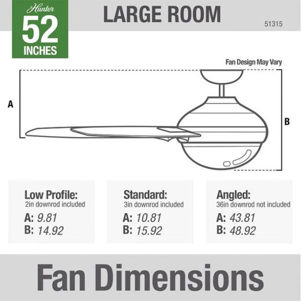 Hunter Fan Aerodyne シーリングファン 52インチ マットシルバー (51315)